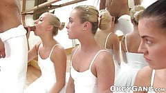 Three teenage ballet dancers fucked and facialized