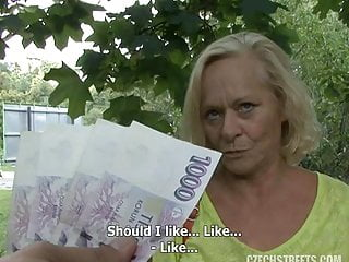 Granny Czech Streets Casting Fuck For Money