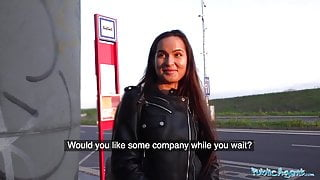 Public Agent Monica Brown has her tight Russian pussy fucked