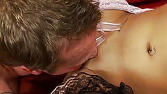 Lucky stud buries his face in Romana's hot ass before fucking it