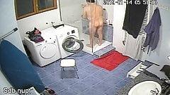 Husband taking a shower