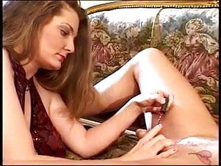 Brunette grinding on a hard cock - Brunette using her hands on a hard cock