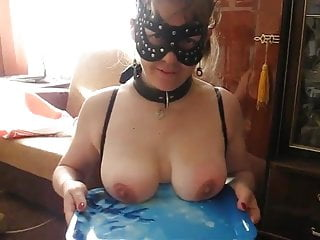 Tray type air stripper Leylas tits are whipped on the tray