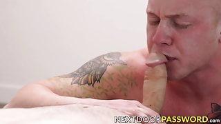 Tattooed jock takes great pleasure riding a meaty cock