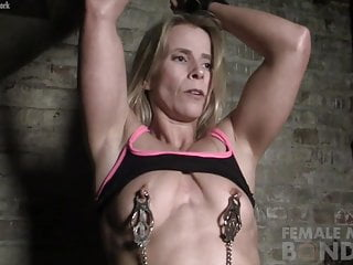 Beautiful naked female models - Naked female muscle cougar in pain from nipple clamps