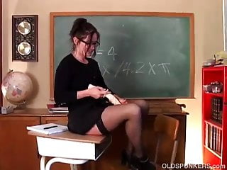Naughty teacher pussy - Naughty milf teacher in lingerie fucks her soaking wet pussy