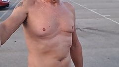 Public nude with erected pierced shaved cock