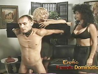 Bondage dungeon asian sex - Busty milfs play with a skinny loser in the dungeon