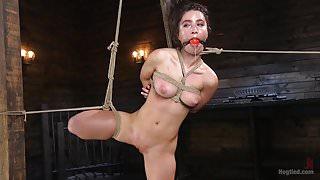 Petite Brunette Serena Blair Tied in Rope Bondage