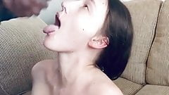 Cuckhold husband watches wife get facial and fucked