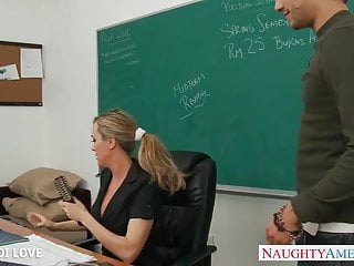 Riding cock mms Blonde teacher brandi love riding cock in classroom