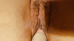 Wifes squirting hairy pussy fuck machine