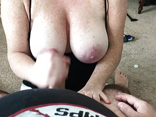 Freckled cumshot Handjob onto wifes huge freckled tits