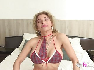 Blonde wives being fucked Colombian broad fulfill her fantasy: being fucked by three b