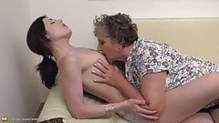 Granny kiss lick and fuck young girl