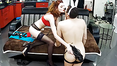 Bunny Boy with Redhead Mistress Has Femdom Action on RealCam