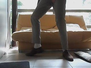 Vintage mens suede White tnt socks brown suede shoes tan suit, big finish