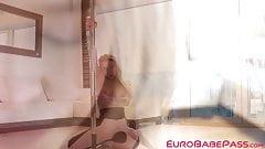 Euro blondie Alexa Flexy stips before sensual pussy play