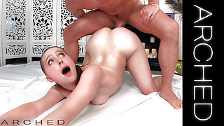 ARCHED -LANEY GREY ARCHED BACK TEEN OILED AND FUCKED