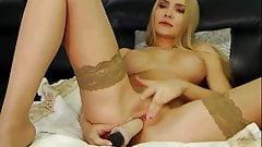 DreamGirl004 Blonde in Tan stocking cums on dildo