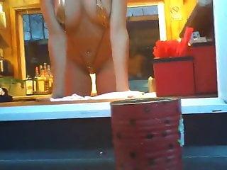 Bikini baristas Girl flashing bikini caffee baristas