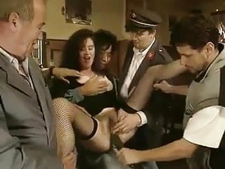 Vintage bar traditional Classic - hot brunette cucumber arse pussy in public bar