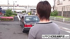 Hot Japanese babe fucks him in the car