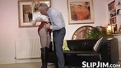 British babe banged hard after sucking old throbbing dick