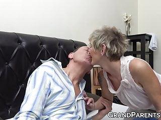 Naughty redhead - Hot granny teaches naughty redhead how to suck grandpa