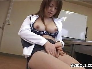 Wearing my vibrator Busty japanese cutie wearing fishnet stockings plays with he