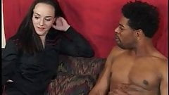 Huge black dick sucked and horny brunette fucked and creamed