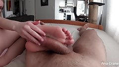 Sensual Blowjob and Footjob with Cum on Feet