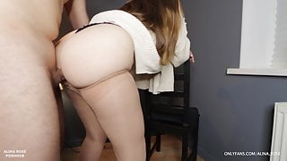 Hot stepsis in pantyhose gives thigh job until he cums in her panties