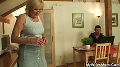 Shaved-pussy girlfriends mother swallows his cock