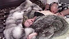 Couple in fur coat. Blowjob, cunnilingus, sex