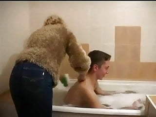 Mature and young boy video Mature and young boy in the bathtub