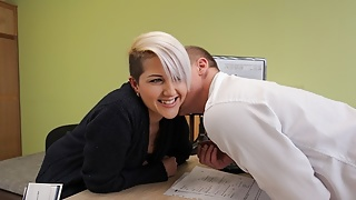 LOAN4K. Seductive lady has sex with loan agent to start her