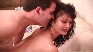 Sexy Asian babe sucking and fucking big cock guy