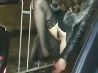 Nurse pee in car - Asian hairy babe in stockings and dress pees next to car 1
