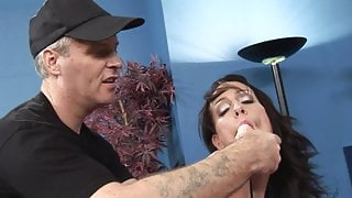Naughty pornstar engages two giant peckers from her mouth, cunt to anal