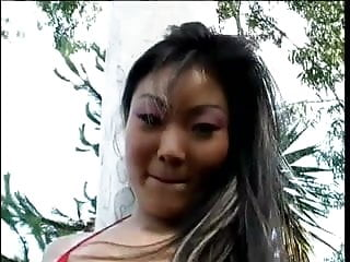 Splitting black pussy Petite asian has her ass split open