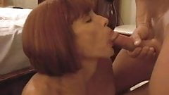 red headed milf sucks and takes a load