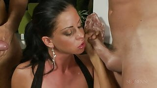 Hot threesome with a gorgeous brunette and two studs