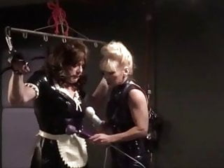 Suspended bikinis in bondage - Angelica suspended cock teased by madame cs hitachi wands