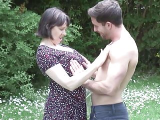 Dick on titts - Mature bigtit mother takes young dick on nature
