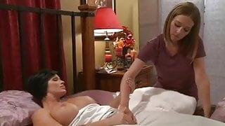 Milf seduces masseuse