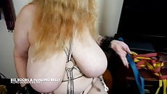 Blonde with massive tits and belly has her nipples tortured