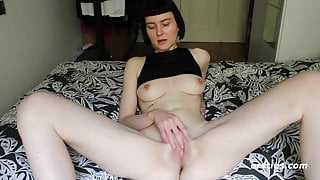 Delphine Lubes Up Her Dildo For Action