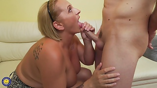 Big beautiful mother suck and fuck lucky step son