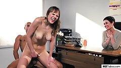 Secretary with saggy tits fucks boss' husband